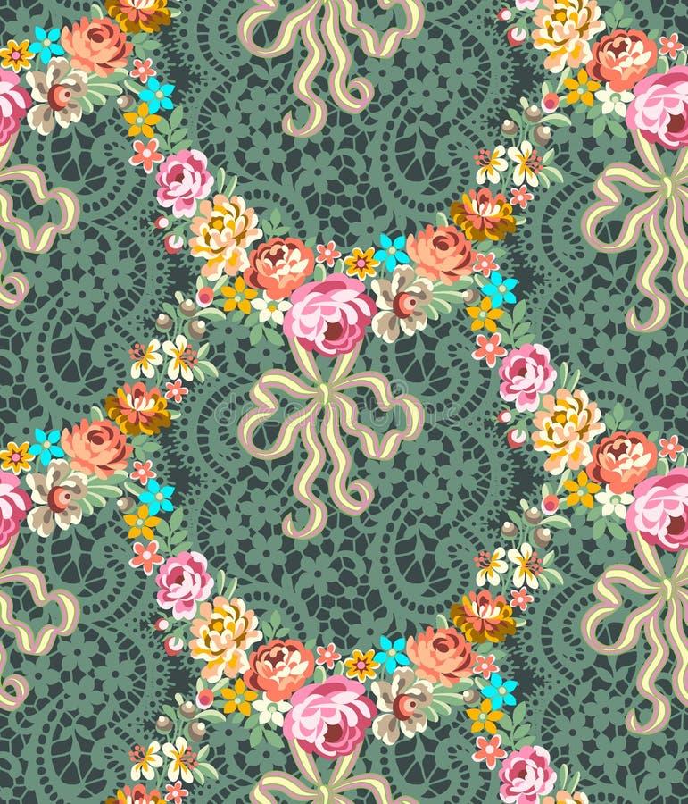 Rosas Garland Lace Seamless Pattern de Roccoco ilustração royalty free