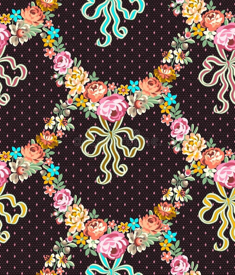 Rosas Garland Lace Seamless Pattern de Roccoco ilustração stock