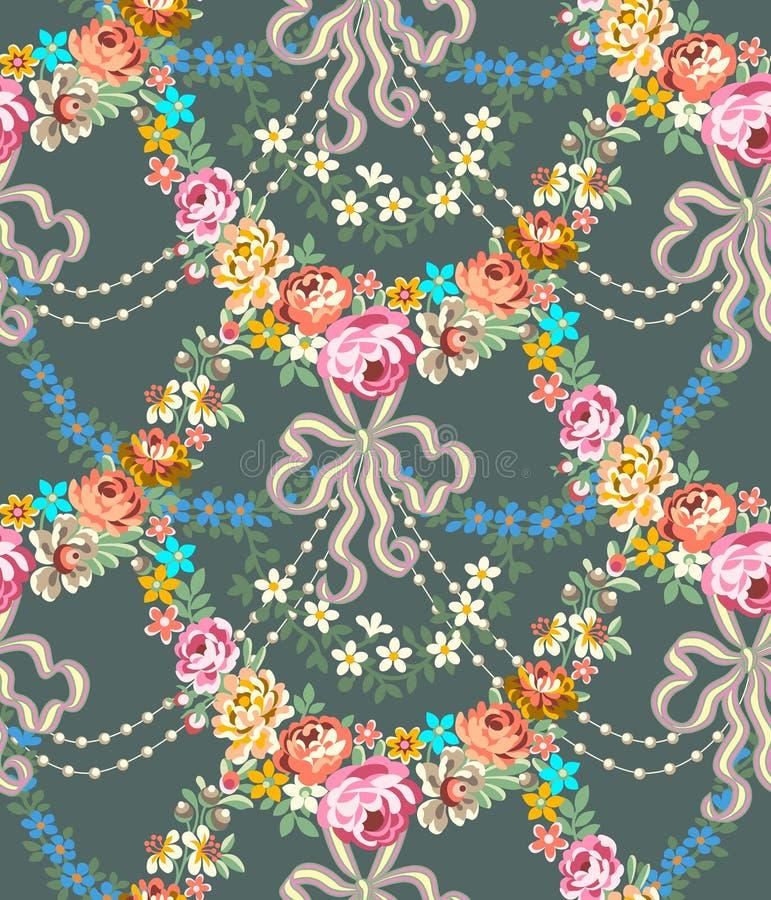 Rosas Garland Lace Seamless Pattern de Roccoco ilustração do vetor