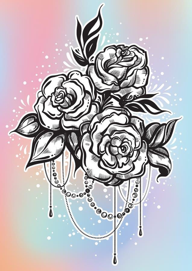 Rosas hermosas a mano en estilo linear Arte del tatuaje Composición gráfica del vintage Ilustración del vector aislada libre illustration