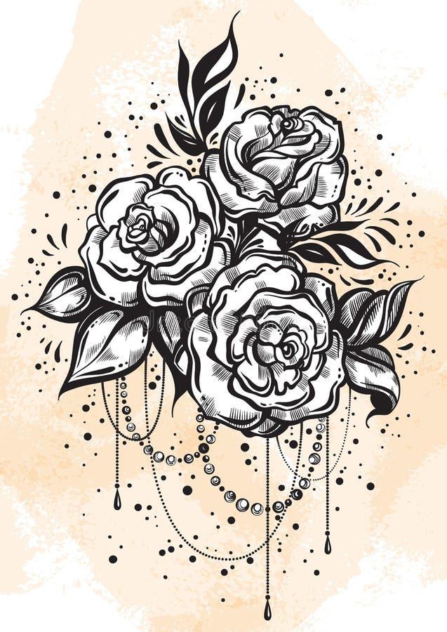 Rosas hermosas a mano en estilo linear Arte del tatuaje Composición gráfica del vintage Ilustración del vector aislada Camisetas, libre illustration