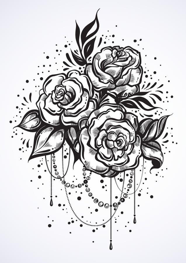 Rosas hermosas a mano en estilo linear Arte del tatuaje Composición gráfica del vintage Ilustración del vector aislada Camisetas ilustración del vector