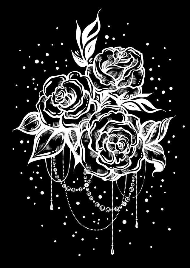 Rosas hermosas a mano en estilo linear sobre la pizarra Tiza del vintage Arte del tatuaje Composición gráfica del vintage Arte de libre illustration