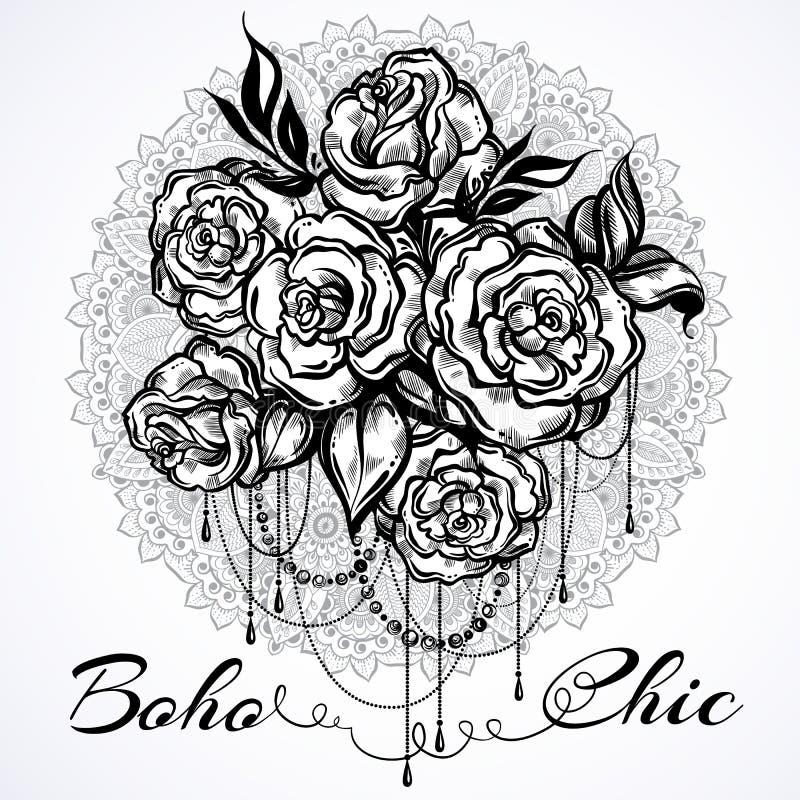 Rosas hermosas a mano sobre la mandala, modelo redondo adornado Arte del tatuaje Composición gráfica del vintage en estilo linear stock de ilustración