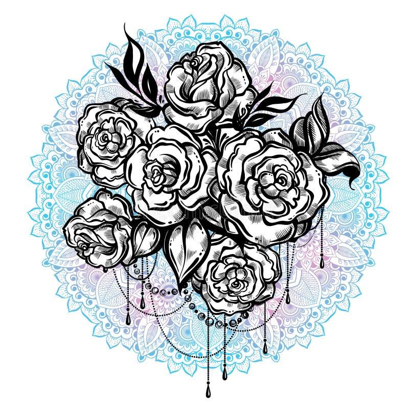 Rosas hermosas a mano sobre la mandala, modelo redondo adornado Arte del tatuaje Composición gráfica del vintage en estilo linear libre illustration