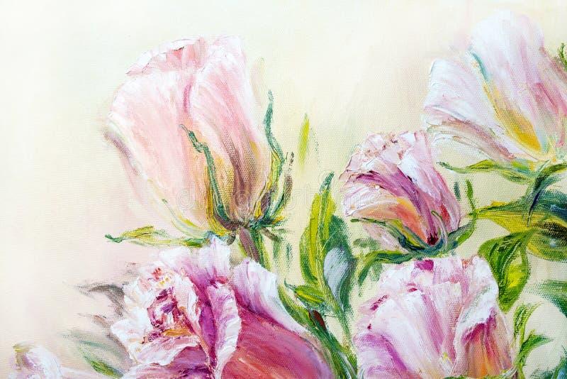 Rosas hermosas, pintura al óleo stock de ilustración