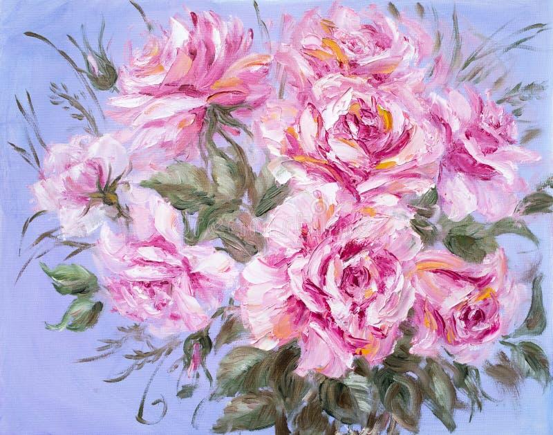 Rosas hermosas, pintura al óleo en lona ilustración del vector