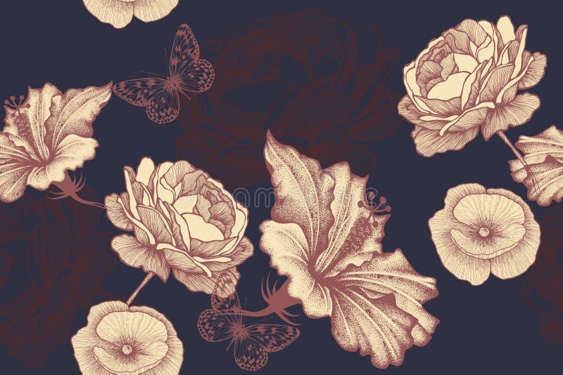 Rosas, hibiscus e papoilas com borboletas em um fundo floral sem emenda Teste padr?o floral, vetor fotos de stock