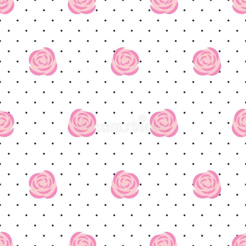 download rosas inconstiles del rosa del papel pintado en fondo de los lunares ilustracin del vector - Papel Pintado Lunares
