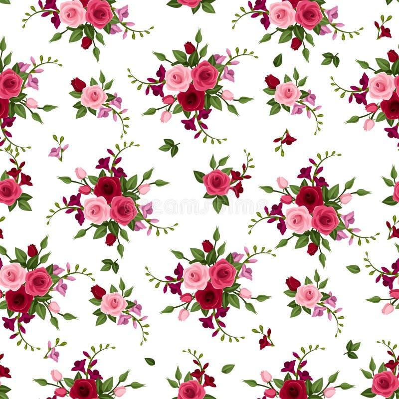Rosas inconsútiles y fresia del modelo. stock de ilustración