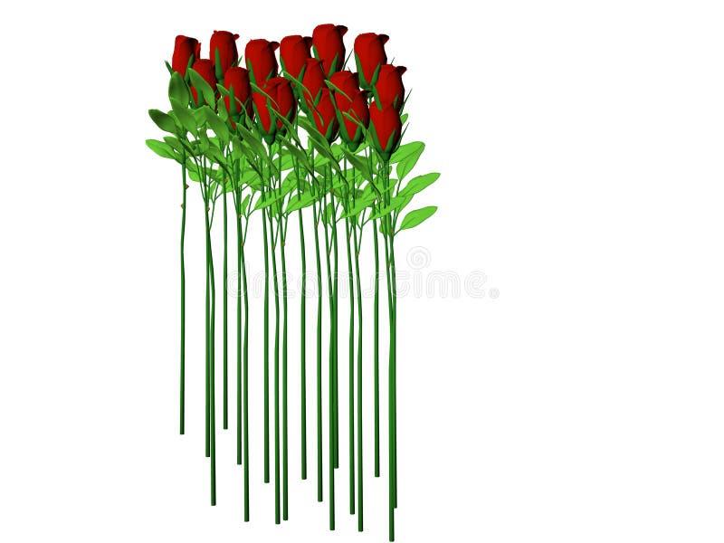 Rosas largas del vástago stock de ilustración