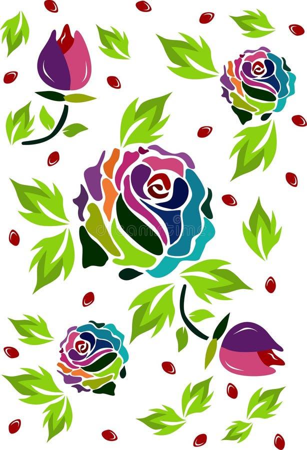 rosas multicoloras especiales stock de ilustración
