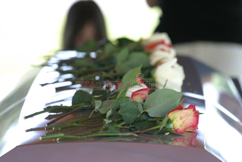 Rosas no caixão imagens de stock royalty free