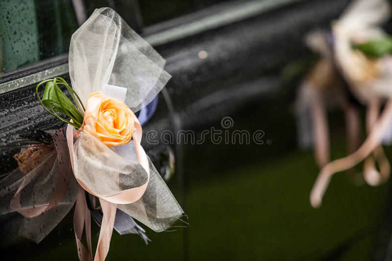 Rosas no carro imagens de stock