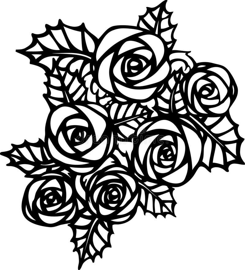 Rosas no estilo da tatuagem ilustração royalty free