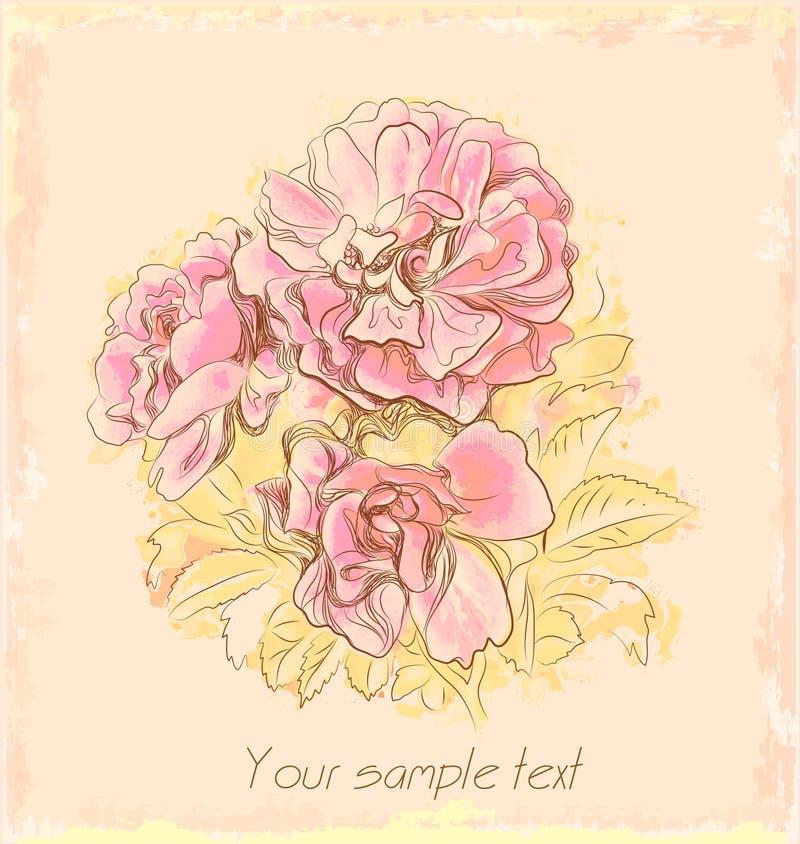 Rosas outonais no papel velho ilustração royalty free