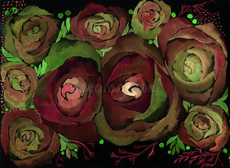 rosas Papel pintado abstracto con adornos florales watercolor Centro de flores decorativo ilustración del vector