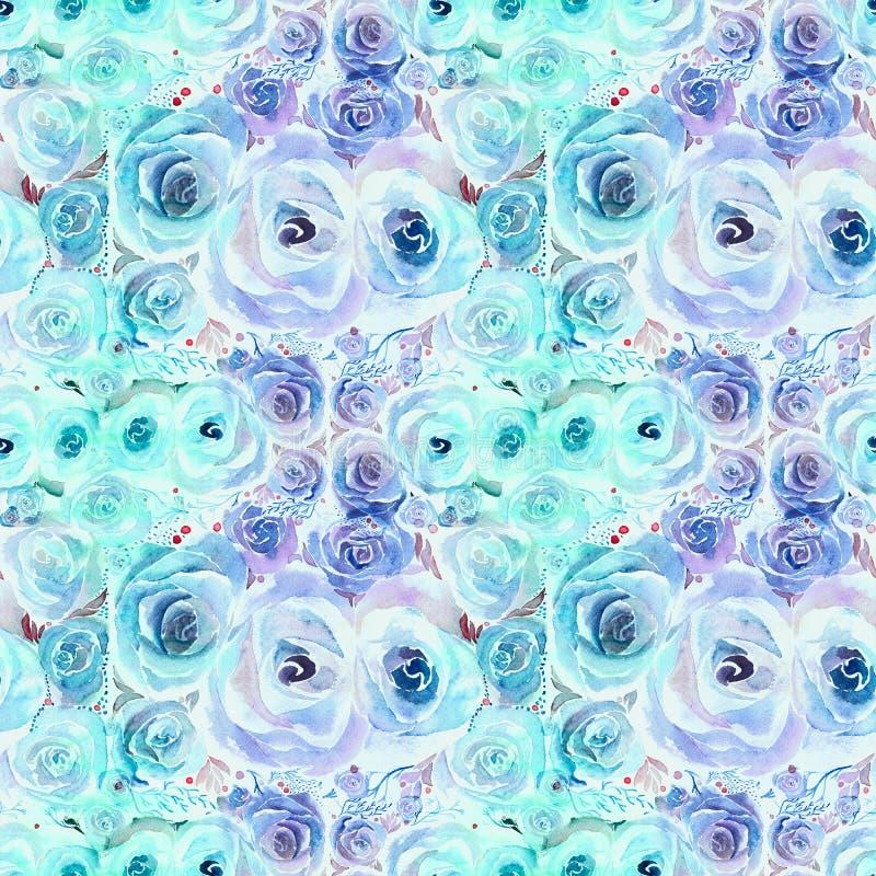 rosas Papel pintado abstracto con adornos florales watercolor Modelo inconsútil wallpaper Centro de flores decorativo stock de ilustración
