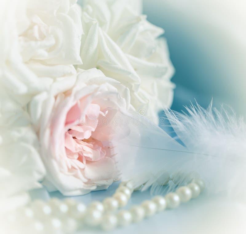 Rosas, perla y pluma en colores pastel fotos de archivo