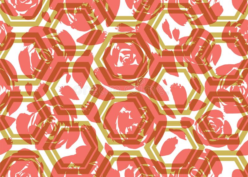 Rosas pintadas a mano coralinas del extracto y hexágonos verdes con efecto que acoda transparente Modelo incons?til del vector stock de ilustración