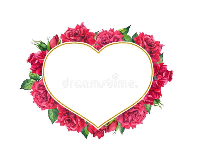 Rosas rojas con el marco de oro de la forma del corazón Tarjeta de la acuarela stock de ilustración