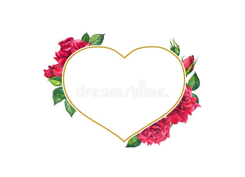 Rosas rojas con el marco de oro de la forma del corazón Tarjeta de la acuarela ilustración del vector