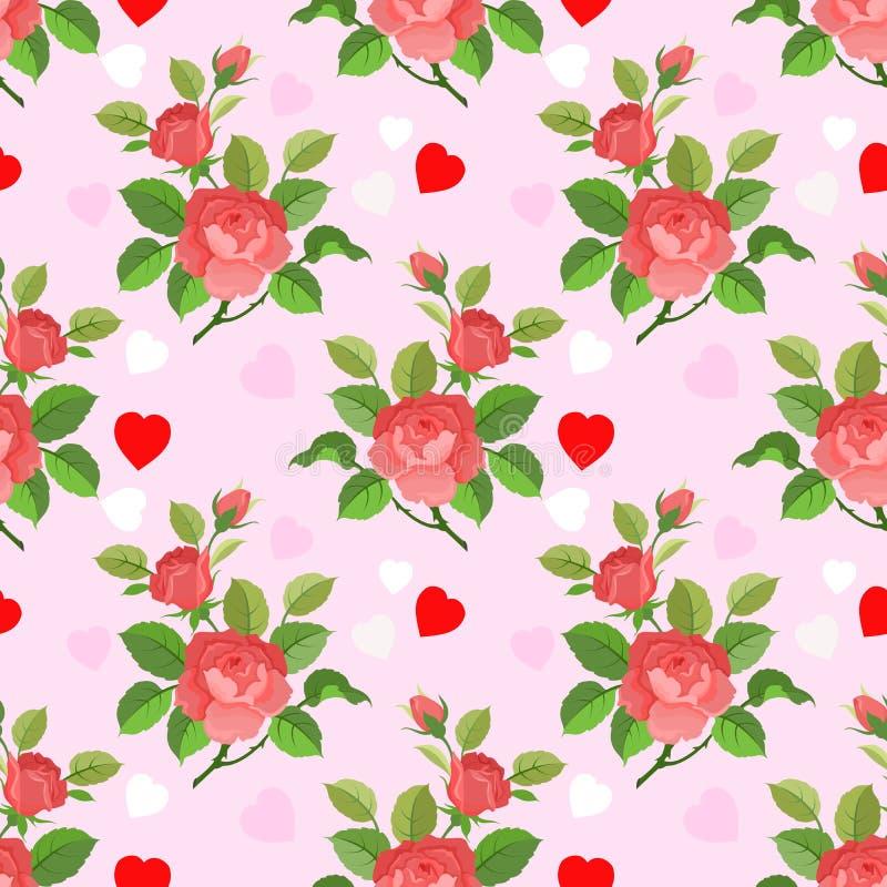 Rosas rojas con forma del corazón en modelo rosado del fondo del color libre illustration