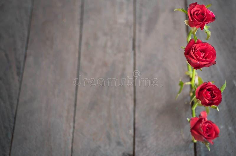 Rosas rojas en el fondo de madera, vintage retro foto de archivo libre de regalías