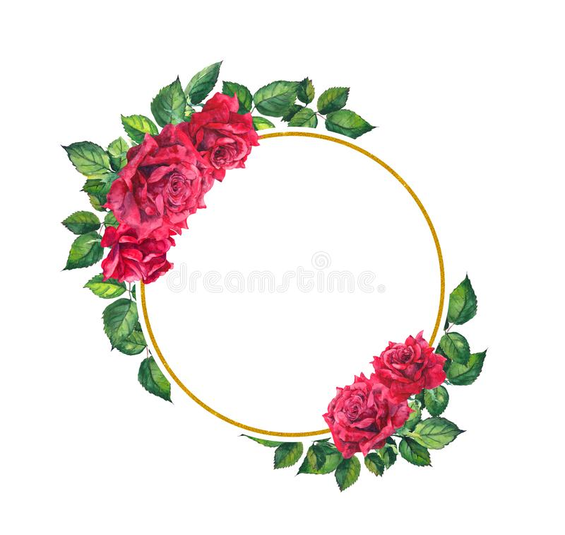 Rosas rojas, guirnalda redonda de oro Tarjeta floral de la acuarela para el día de San Valentín ilustración del vector