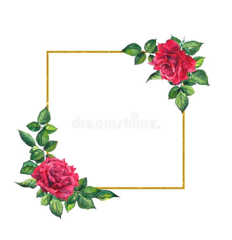 Rosas rojas, marco de oro cuadrado Tarjeta de la acuarela con las flores y la guirnalda ilustración del vector