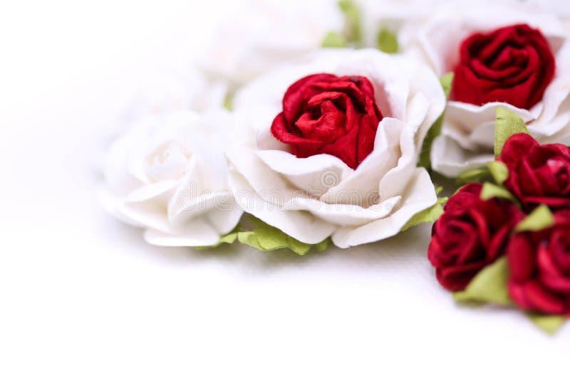 Rosas rojas y rosas blancas en el backgroud blanco, amor del día de San Valentín imagen de archivo libre de regalías
