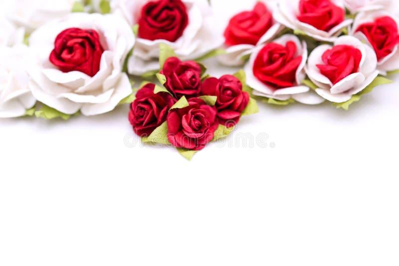 Rosas rojas y rosas blancas en el backgroud blanco, amor del día de San Valentín foto de archivo libre de regalías