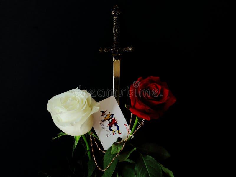 Rosas rojas y blancas, reproducci?n del estilete del metal y tarjeta con el buf?n en fondo negro Vida del †simbólico del concep imagen de archivo libre de regalías