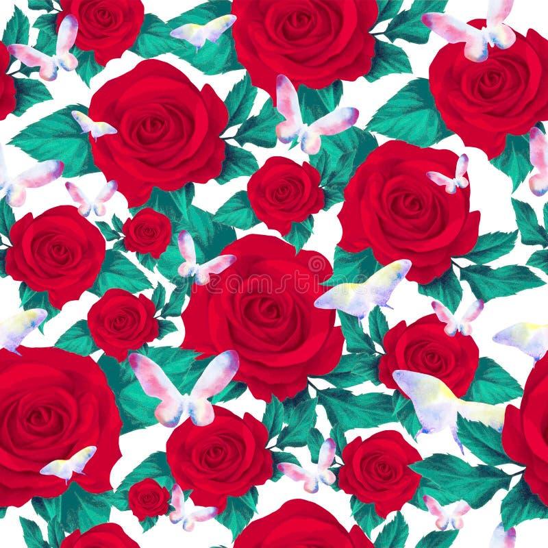 Rosas rojas y modelo inconsútil de la mariposa ilustración del vector