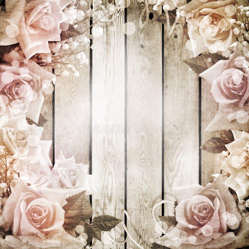 Rosas románticas del backgroundwith de la vendimia de la boda libre illustration