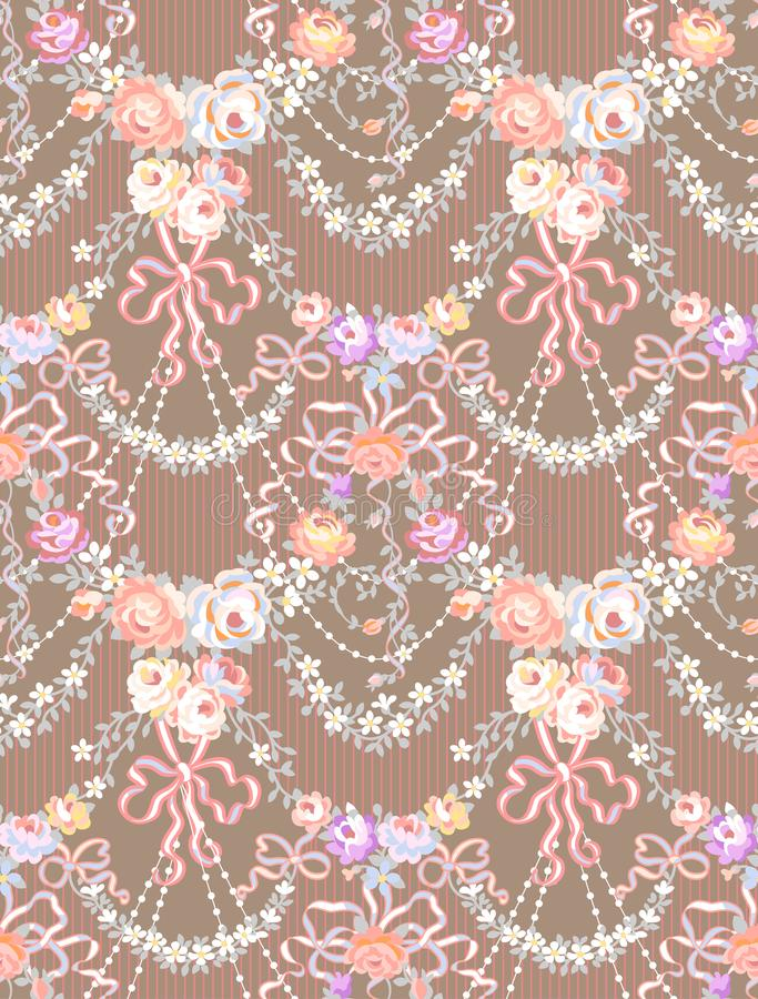 Rosas románticas Garland Multicolor Vector Seamless Pattern libre illustration