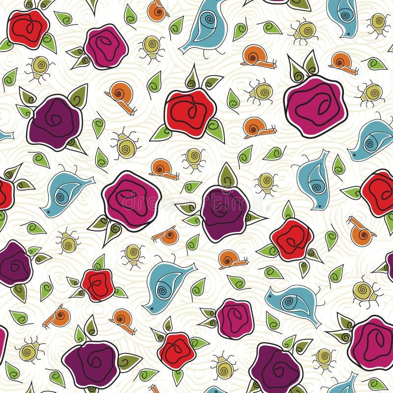Rosas rosa vectorial, roja, morada con pájaros azules, bugs de oro y caracoles en fondo blanco patrón de repetición sin problemas libre illustration