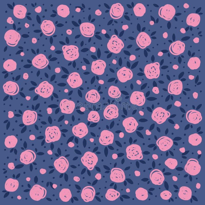 Rosas rosadas decorativas en un fondo azul marino stock de ilustración
