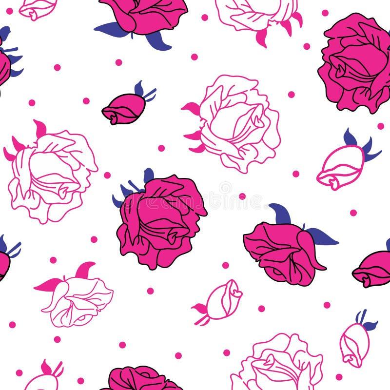 Rosas rosadas en el fondo blanco inconsútil imagenes de archivo