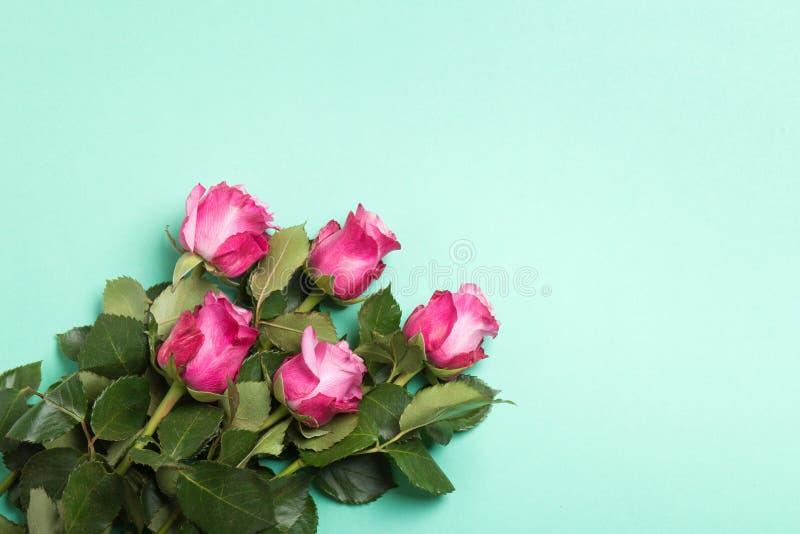 Rosas rosadas en fondo verde claro Visión superior imagenes de archivo