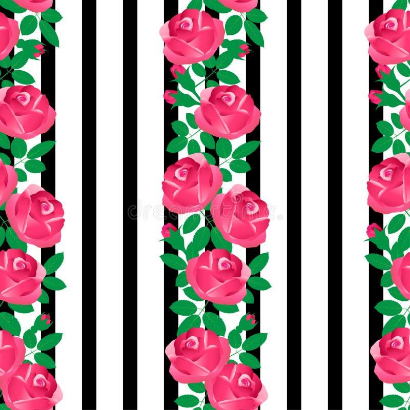Rosas rosadas en un fondo blanco y negro rayado ilustración del vector