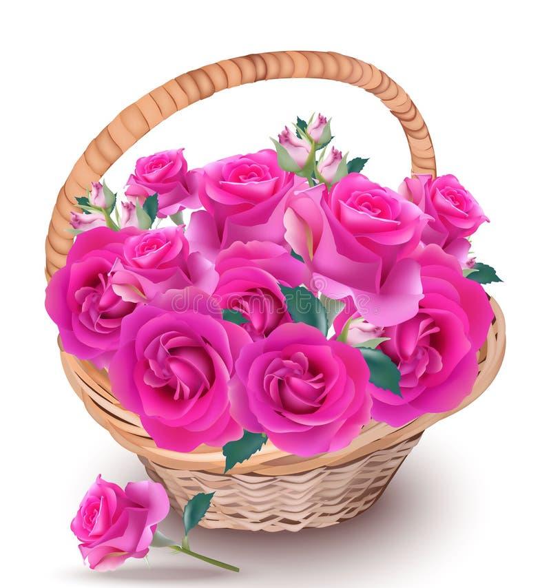 Rosas rosadas en un vector de la cesta Decoración realista hermosa de las flores Composición natural fresca Provence del verano d ilustración del vector