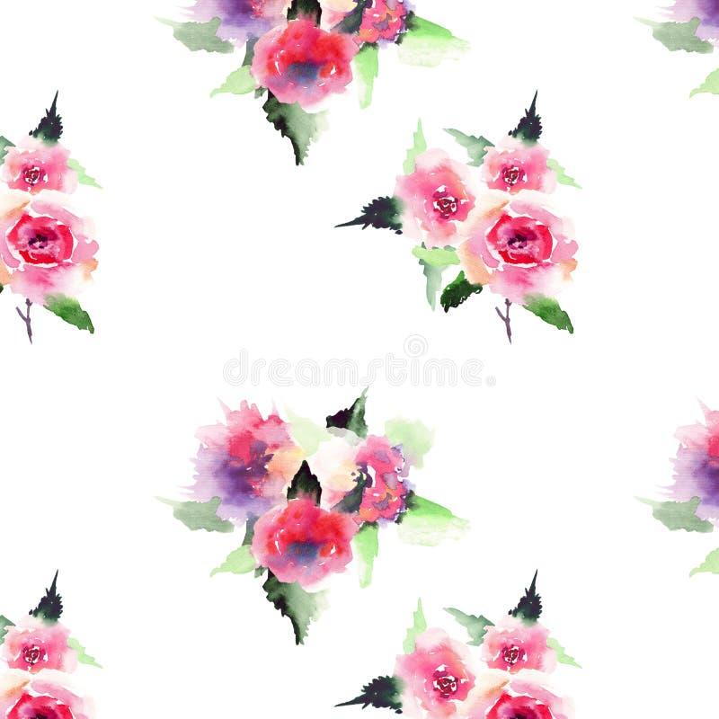 Rosas rosadas y rojas del verano colorido floral precioso sofisticado elegante de la primavera con watercol diagonal del modelo d stock de ilustración