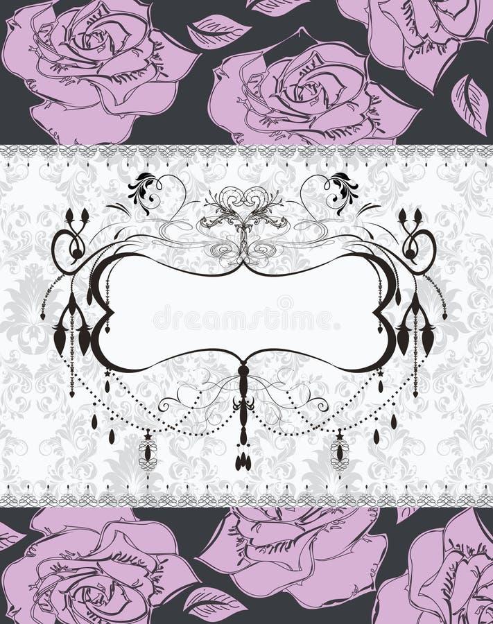 Cartão floral do damasco do casamento ilustração do vetor