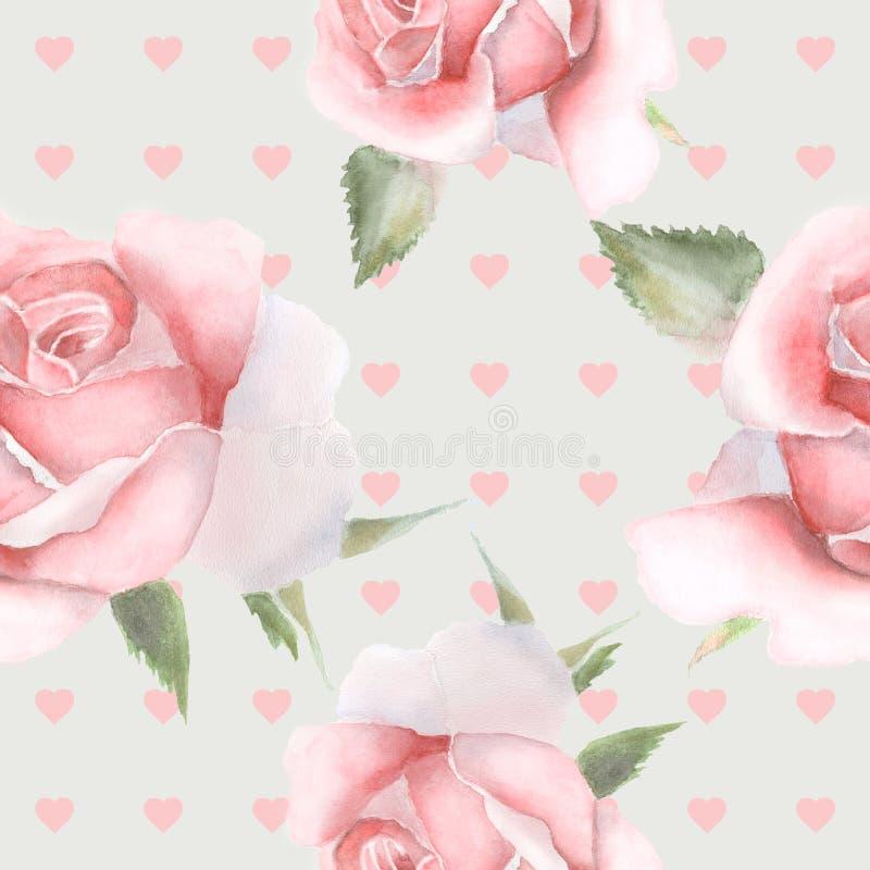 Rosas sem emenda do rosa do wint do teste padrão watercolor ilustração do vetor