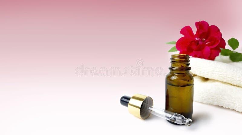 Rosas, toalha, garrafa de óleo essencial no fundo cor-de-rosa fotos de stock royalty free
