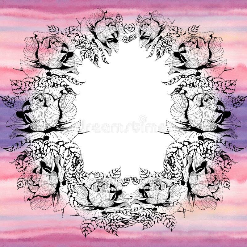 rosas Una rama de rosas con las hojas, las flores y los brotes watercolor Fondo incons?til ilustración del vector