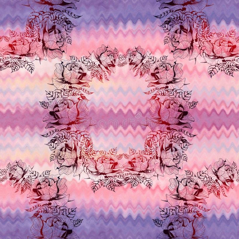 rosas Una rama de rosas con las hojas, las flores y los brotes watercolor Fondo incons?til libre illustration