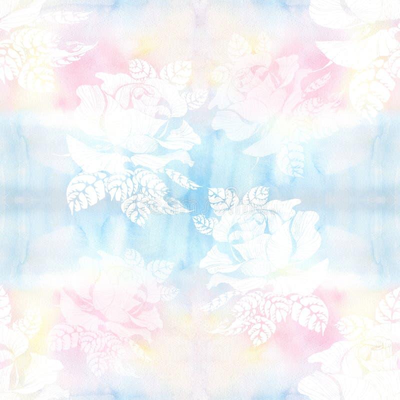 rosas Una rama de rosas con las hojas, las flores y los brotes watercolor Fondo incons?til Collage de flores y de hojas en un wat ilustración del vector