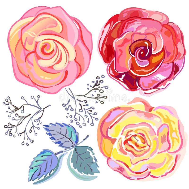 Rosas vermelhas cor-de-rosa do pêssego ajustadas ilustração royalty free